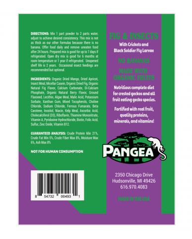 Pangea | Nourriture pour gecko à crête - (sans banane) - Figue & Insectes / 2 oz (56g)