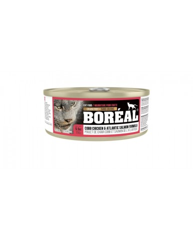 BORÉAL | Nourriture pour chat en conserve - Poulet de chair cobb & saumon de l'atlantique / 156g (5.5 oz)