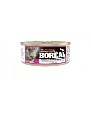 BORÉAL | Nourriture pour chat en conserve - Poulet de chair cobb, agneau de la nouvelle-zélande & boeuf angus / 156g (5.5 oz)