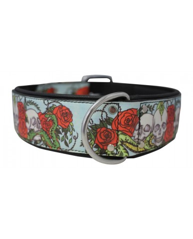 """ANGEL   Collier pour chien """"Skull and roses"""" - cuir / floral"""